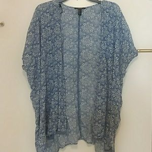 Forever 21 blue patterned cover up cardigan small